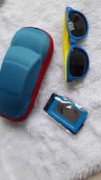 Óculos infantil flexível azul e amarelo