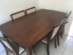 Mesa madeira maciça com 6 cadeiras