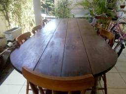Mesa madeira maciça com 10 cadeiras