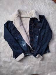 Jaqueta jeans forrada lã carneirinho