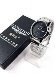 Relógio de pulso Masculino Langlishi aço inoxidável a prova dágua movimento Quartz