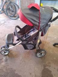 Carrinho de bebê + bebê conforto Galzerano cinza/vermelho