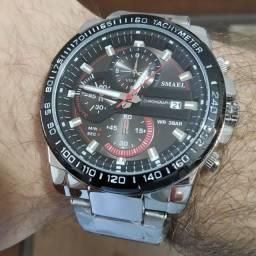 Relógio Smael Funcional Aço Inox- Red