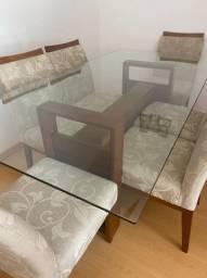Mesa de vidro com 6 cadeiras - ótimo estado