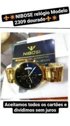 Relógio Nibose Dourado modelo luxo