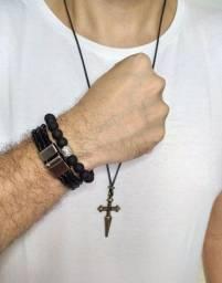 Kit masculino colar e pulseira pretos