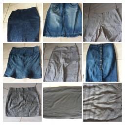 Sapatos e bolsas, vestidos, saias, calças, blusas