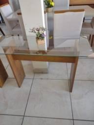 mesa de canto com vidro transparente 100% mdf