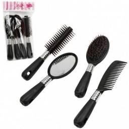 Kit com 2 escovas de cabelo, 1 pente, 1 espelho
