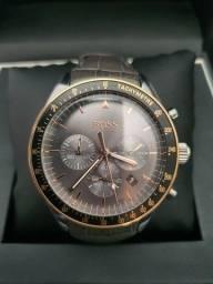 Relógio Hugo Boss Prata em couro legítimo e com garantia
