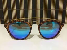 (Aceito cartão) Óculos solar unissex modelo redondo - Lente: azul espelhada estilo Ray Ban