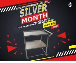 Carrinho inox 100 inox silve month mês prata na aser inox