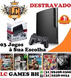 PlayStation 3 500GB Destravado - 03 JOGOs - 03 Meses Garantia