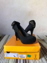 sapato feminino salto fino vizzano camurça
