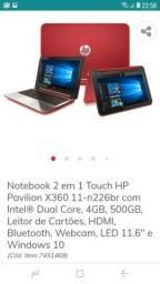 Notebook 2 em 1.touch HP.