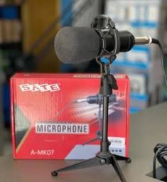 Microfone Satellite A-MK07 Unidirecional com Conector Mini Jack 3.5 mm - Preto