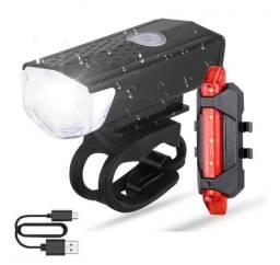 Título do anúncio: Farol + Lanterna em Led Recarregavel USB Bike Ciclismo