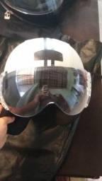 capacete Kraft plus revestido em couro bege