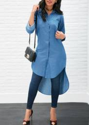 Bata Blusa assimétrica Azul Jeans M