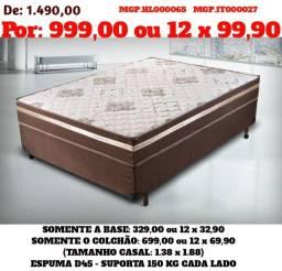 Grande Promoção MS- Colchões+Base Casal Espuma 1,38=Cama-Conjunto Box Espuma