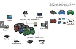 Mini Teclado Controle Sem Fio Para Smart Tv Tv Box Pc - Iluminado