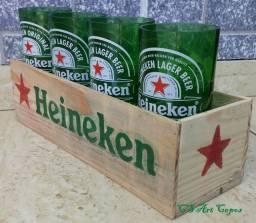 Kit 4 Canecões heineken na caixa Madeira personalizada
