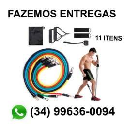Kit Elásticos Extensor 11 Itens Musculação Funcional em Casa