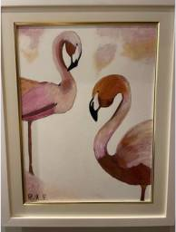 Quadro flamingos