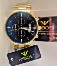 Relógio Nibosi Todo Funcional - Aço Inox Dourado