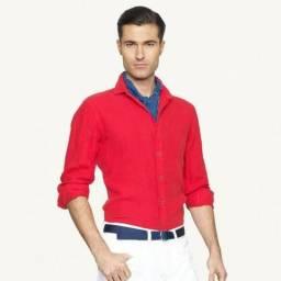 Camisa Ralph Lauren Novo Original Linho G Vermelho Foto Real