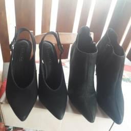 Sapato n35 scarpan semi novo e bota arezzo 80 reais
