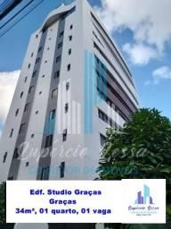 Alugo Apartamento nas Graças, 34 m², 01 suíte