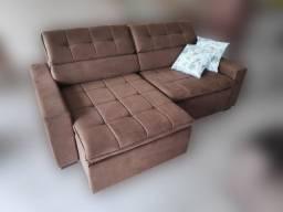 Sofá Retrátil Reclinável de 2,33m em tecido marrom 100% poliéster