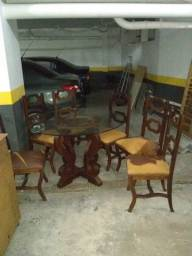 Mesa de Vidro Jacarandá 6 Cadeira