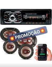 KIT AUTOMOTIVO 3 EM 1 BRAVOX COM 2400W DE POTÊNCIA+RÁDIO COM BLUETOOTH NOVOS