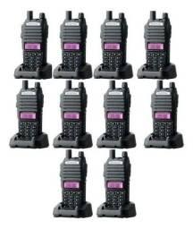 Kit 10 Rádio Ht Comunicador Walk Talk Baofeng Dual Band Uv-82 Rádio Fm