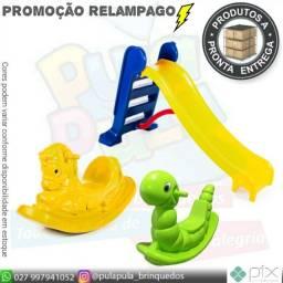 Promoção Relâmpago!! Escorregador M + Gangorra Nhoca + Gangorra Cavalinho