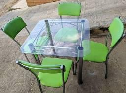 Mesa tampo de Vidro C/4 Cadeiras - ENTREGO