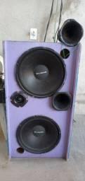 Amplificador 420v +mesa de som í uma caixa com 2 fone