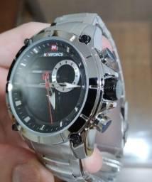 Relógio Naviforce Aço Inox Prateado Digital e Analógico