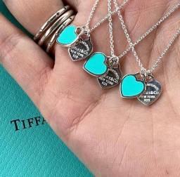 Colar tiffany em prata 925 pendente coração duplo mini