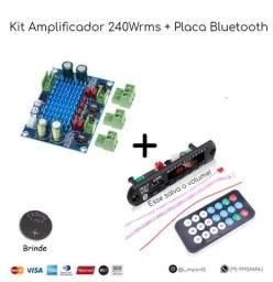 Título do anúncio:  Kit Amplificador 240w + Placa Bluetooth MP3 + Bateria (Brinde)