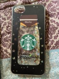Capinha iPhone 7 starbucks com glitter