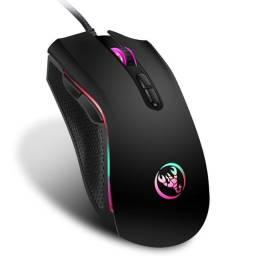 Mouse óptico Hongsund 3200 DPI gamer RBG com 7 botões