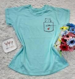 T-shirts tamanhos e modelos variados.