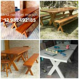 Mesas rústicas feitas com pranchas madeira maciça Taoari