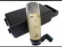 Microfone Estúdio Behringuer C3, mais Phantom de Alimentação e Cabos