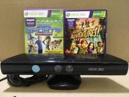 Kinect Xbox 360 Usado Funcionando C/ 2 Jogos