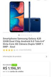 Samsung galaxy A20 32 gb mais cartao de 32 somando 64