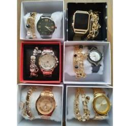 Kit de relógio lindos ja vem com as pulseiras
